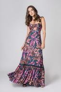Vestido Longo Estampado Floral Fluido Frente Unica Preço Fixo