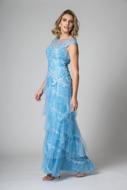 Locação vestido longo azul serenity sp