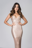 Aluguel Vestido Bandagem Rose Gold Sereia Analia Franco