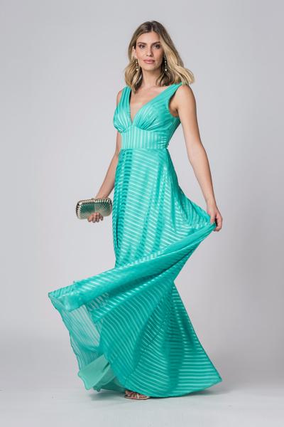 Alugue Vestido longo verde Fluído Sp Tatuapé