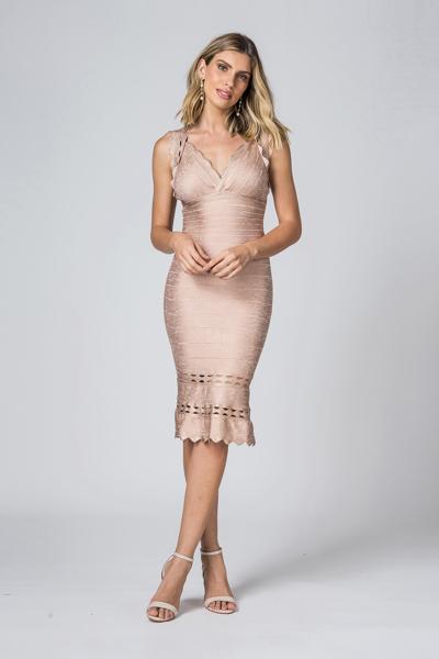 Aluguel Vestido Curto de Bandagem rose Sp Tatuapé